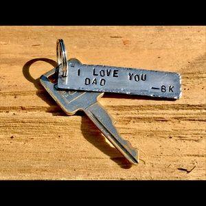 handmade Accessories - Hand stamped metal keychain